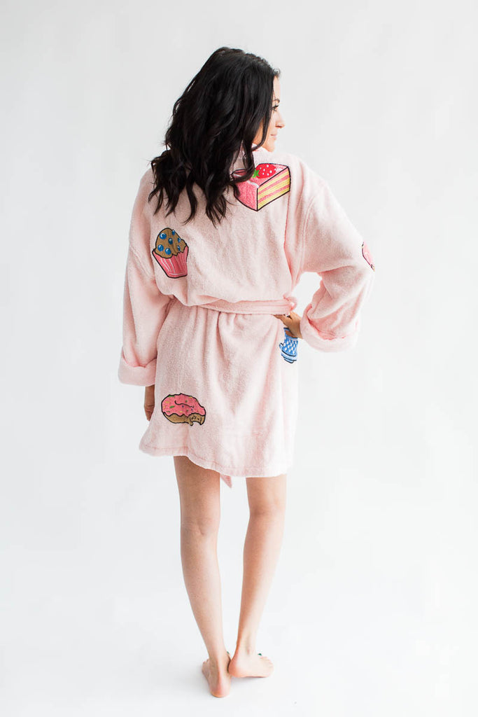 Coffee and Desserts Applique Short Terry Loop Bathrobe