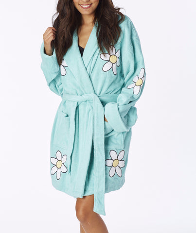 Daisy Applique Short Terry Loop Bathrobe