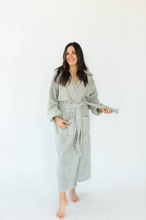 Unisex Solid Zero Twist Terry Loop Hooded Hotel Spa Bathrobe in Gray that Falls Just Above the Ankles & Features an Adjustable Waist Wrap