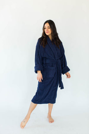 Unisex Solid Zero Twist Terry Loop Hooded Hotel Spa Bathrobe in Navy