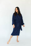Unisex Solid Zero Twist Terry Loop Hotel Spa Bathrobe in Navy