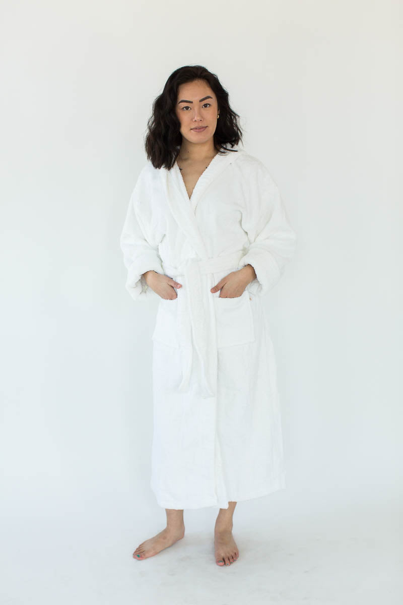 Unisex Solid Zero Twist Terry Loop Hooded Hotel Spa Bathrobe in White that Falls Just Above the Ankles & Features an Adjustable Waist Wrap
