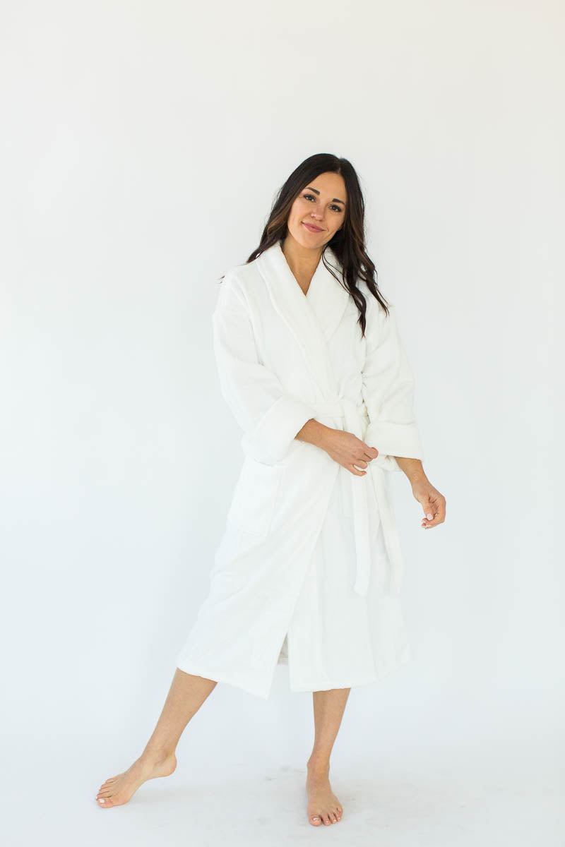 Unisex Solid Zero Twist Terry Loop Hooded Hotel Spa Bathrobe in White that Falls Below the Knees & Features an Adjustable Waist Wrap
