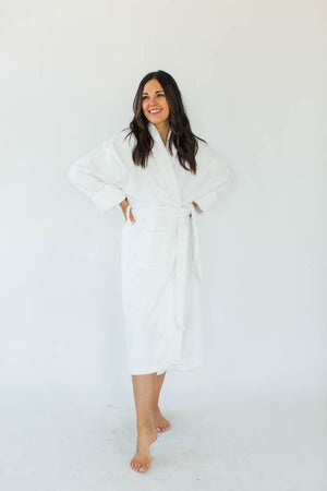 Terry Velour Long Shawl Collar Robe in White that Falls Below the Knees & Features an Adjustable Waist Wrap