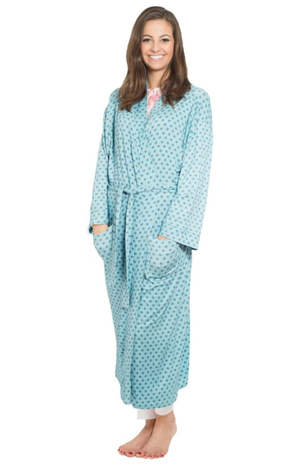 Light Blue Rayon Jersey Kimono Robe with All-Over Floral Medallion Print that Falls Just Above the Ankles