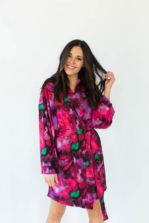 Abstract Paint Stretch Tricot Short Robe in Various Shades of Pink with All-Over Brush Stroke Inspired Print that Falls Just Above the Knee