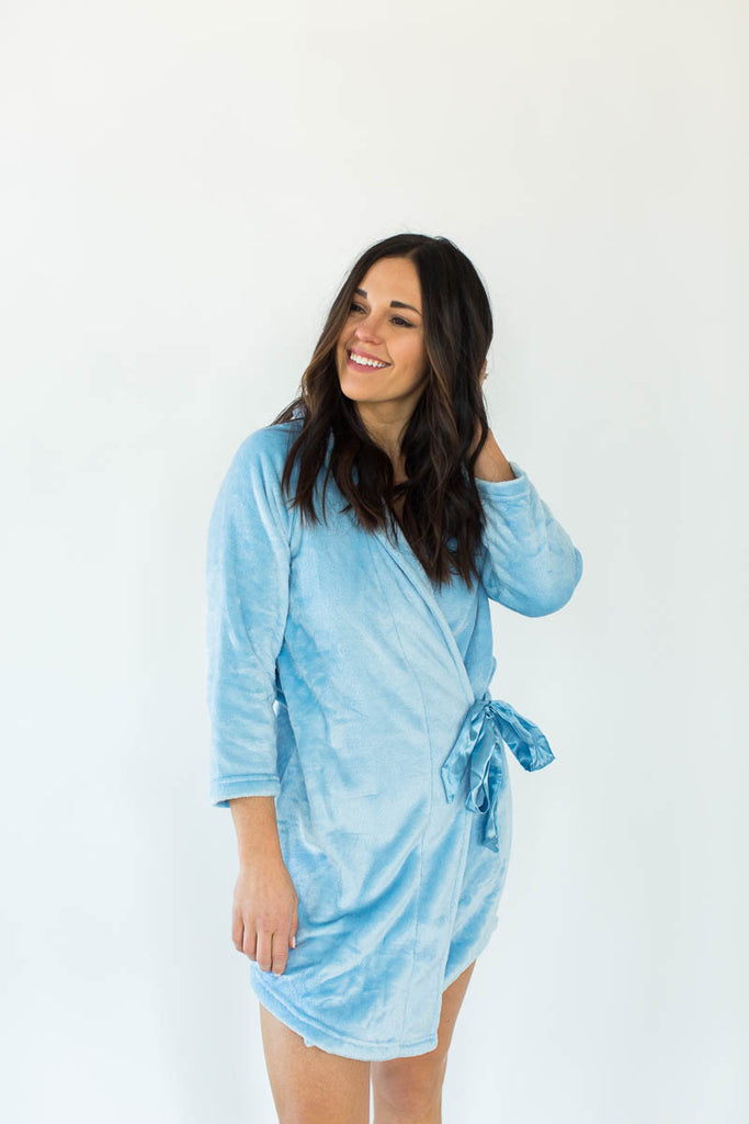 Cashmere Plush Rounded Hem Side Tie Robe in Solid Light Blue that Falls Just Above the Knee & Features an Attached Satin Side Waist Tie Belt