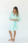Cashmere Plush Rounded Hem Side Tie Robe in Solid Mint that Falls Just Above the Knee & Features an Attached Satin Side Waist Tie Belt