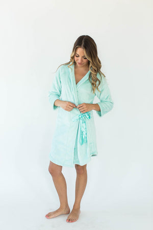 Cashmere Plush Rounded Hem Side Tie Robe in Mint