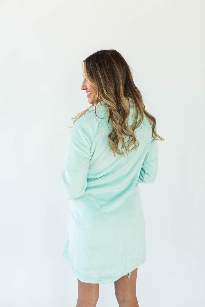 Back View of Cashmere Plush Rounded Hem Side Tie Robe in Solid Mint that Falls Just Above the Knee & Features an Attached Satin Side Waist Tie Belt