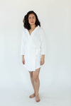 Cashmere Plush Rounded Hem Side Tie Robe in Solid Bright White that Falls Just Above the Knee & Features an Attached Satin Side Waist Tie Belt