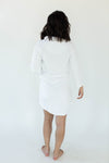 Back View of Cashmere Plush Rounded Hem Side Tie Robe in Solid Bright White that Falls Just Above the Knee & Features an Attached Satin Side Waist Tie Belt