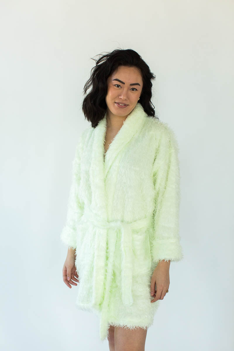 Furry Robe in Lime that Falls Just Above the Knees and Features an Adjustable Fabric Waist Wrap
