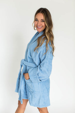 Solid Zero Twist Terry Loop Bathrobe in Light Blue