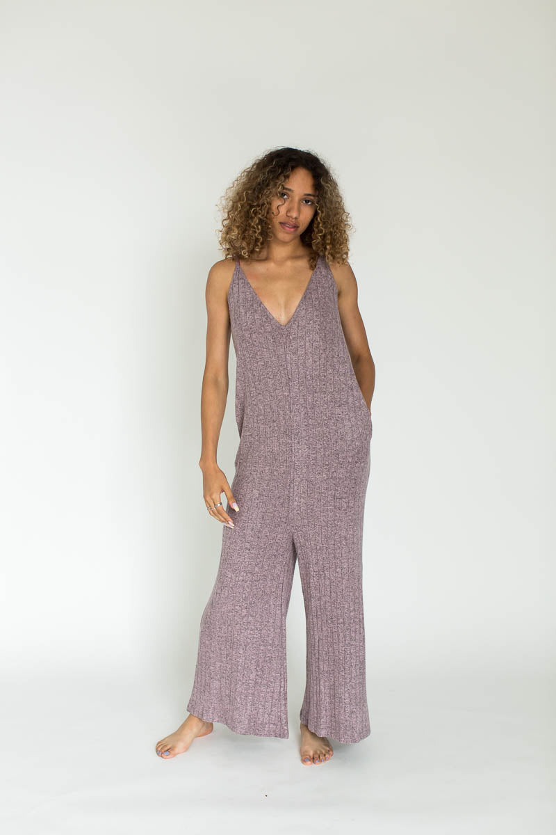 Ribbed Weekend Fleece Lounge Jumpsuit in Zephyr