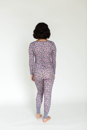 Henley & Legging Rayon Jersey Set in Pink Floral