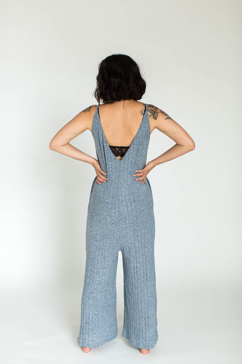 Ribbed Weekend Fleece Lounge Jumpsuit in Blue