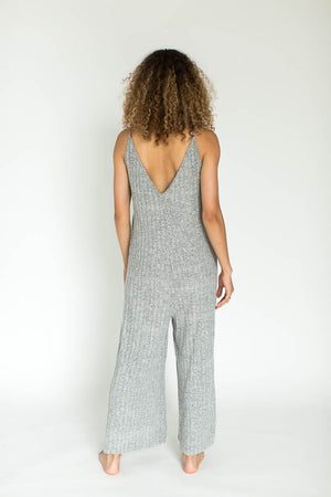 Ribbed Weekend Fleece Lounge Jumpsuit in Gray