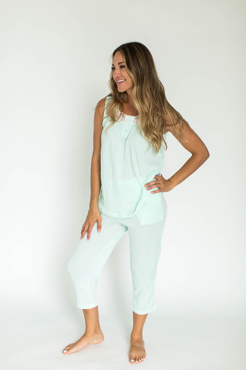 Knit Gauze Tank & Capri PJ Set in Mint