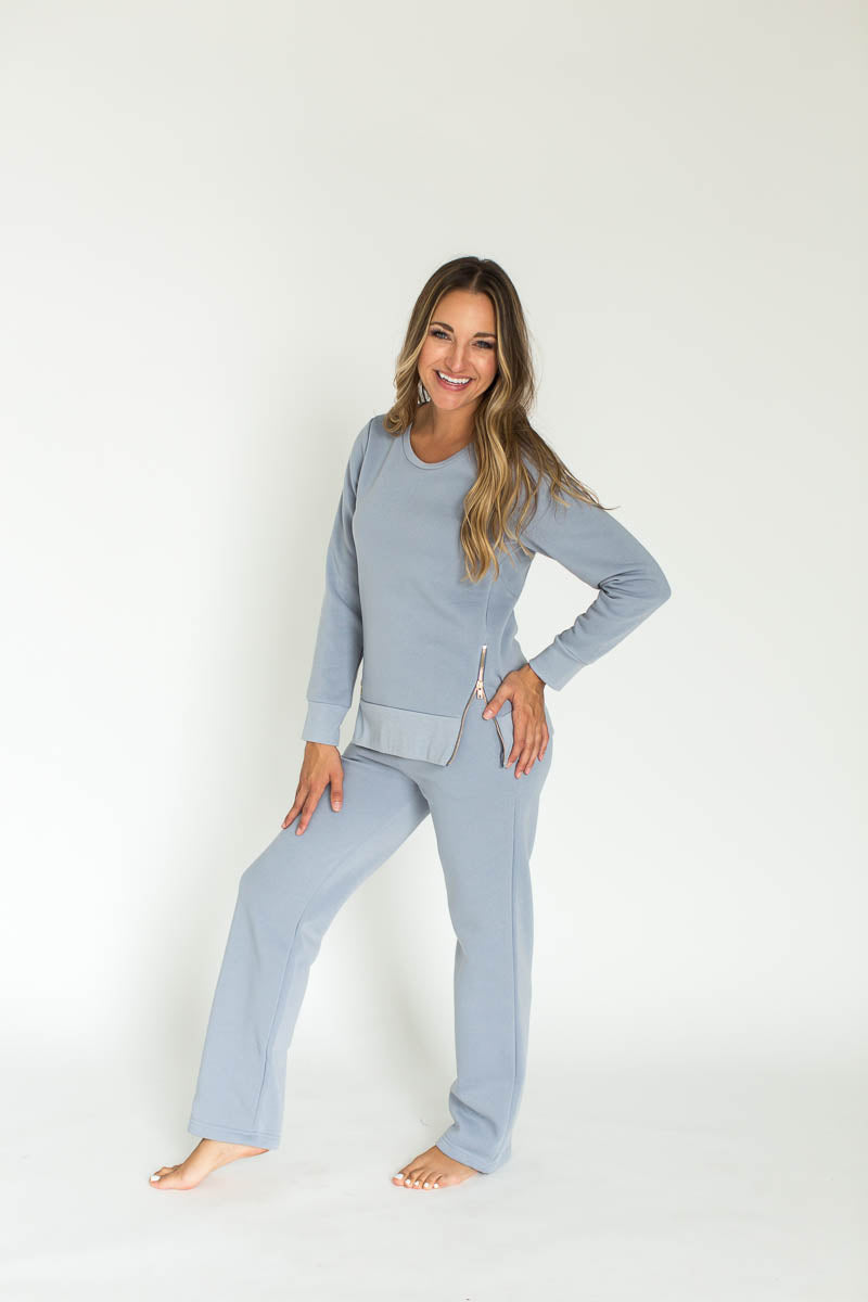 Zippered Sweatshirt Knit Lounge Set in Gray