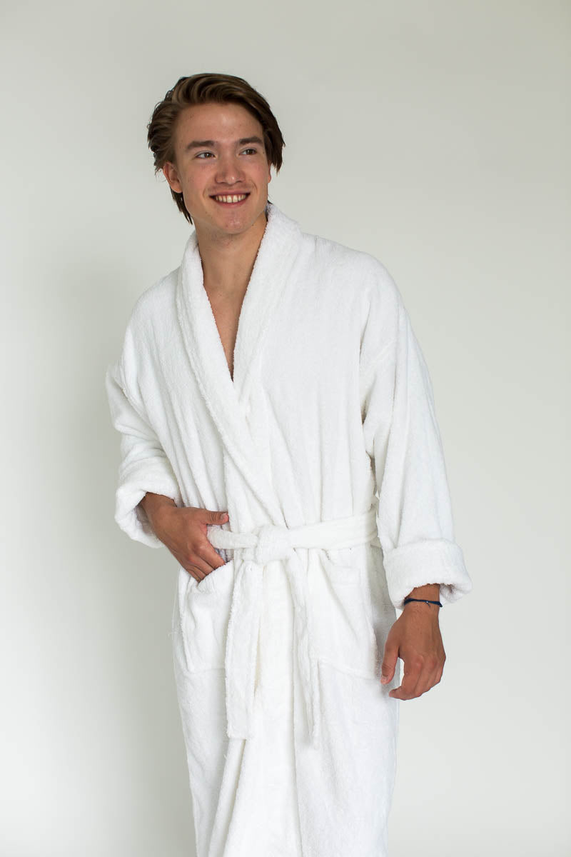 Terry Velour Long Shawl Collar Robe in White