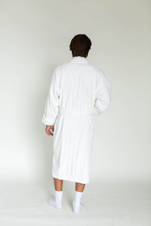 Unisex Solid Zero Twist Terry Loop Hotel Spa Bathrobe in White