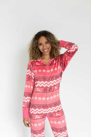 Coral Snow Day Minky Fleece Women's Onesie