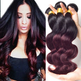 6A Brazilian Virgin Hair Body Wave 3 Bundles Burgundy Brazilian Hair Two Tone Ombre Hair Brazilian Body Wave Ombre Human Hair