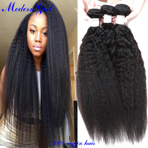 7a Mongolian kinky straight 3pcs Human Hair Weave Coarse Yaki Bundles Italian Yaki Kinky Straight Weave Virgin Hair Extension