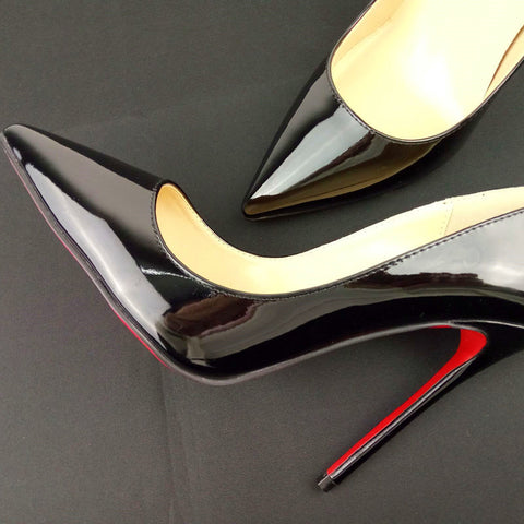 Womens Pumps High Heels Red Bottom Sole Shoes Pointed Toe Patent Leather Black Beige Heel Size 35-42