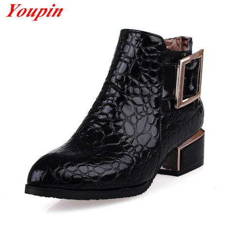 ankle boots Sequins duantong women boots 2015 Spring comfortable casual shoes fashion ankle boots thick with Martin boots 33-42