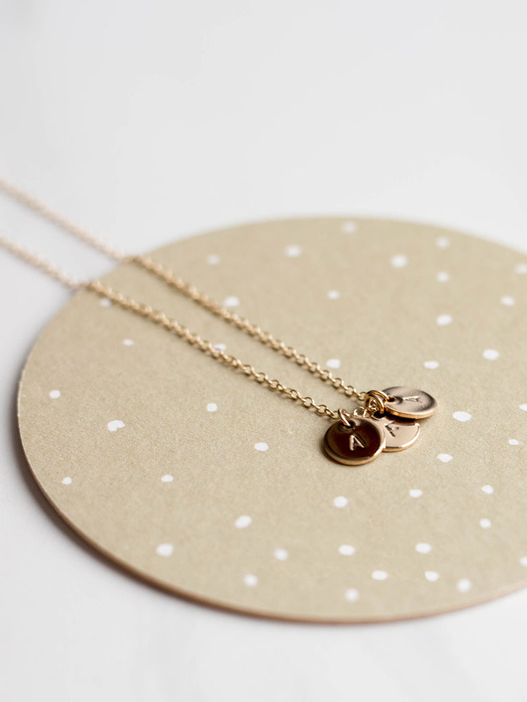 Gold Disc Necklace - 3 Charms