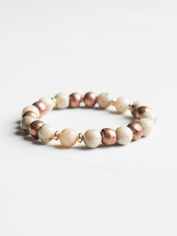 White African Opal Copper Beaded Bracelet