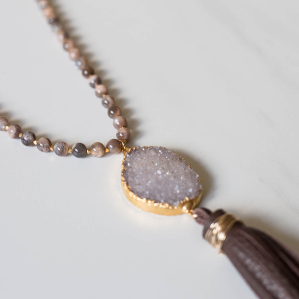 Chocolate Moonstone Tassel Necklace