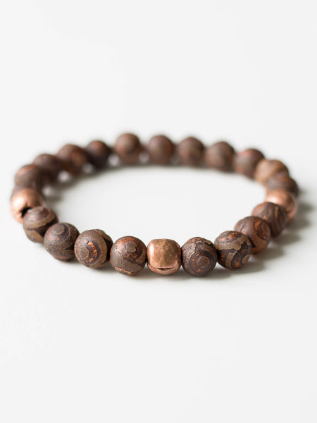 DZI Agate + Copper Beaded Bracelet