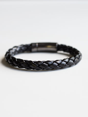 Gunmetal Italian Leather Bracelet
