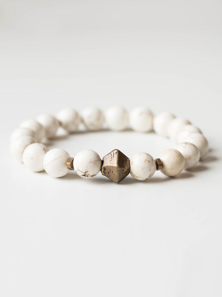 Howlite + Brass Beaded Bracelet
