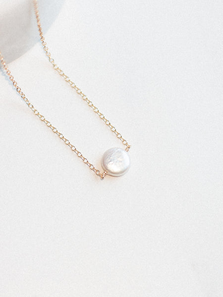 Suspended Pearl Coin Necklace