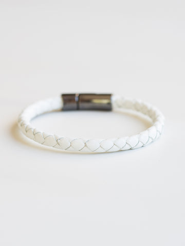 White Italian Leather Bracelet