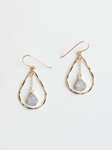 Mini Teardrop Druzy Earrings