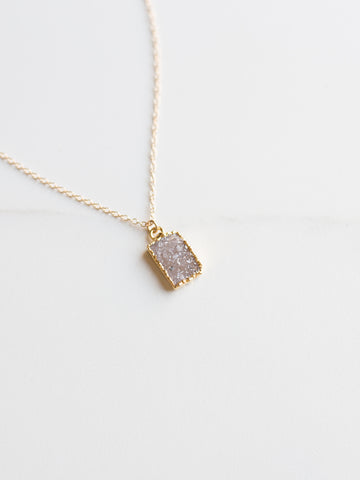 Mini Druzy Rectangle Necklace