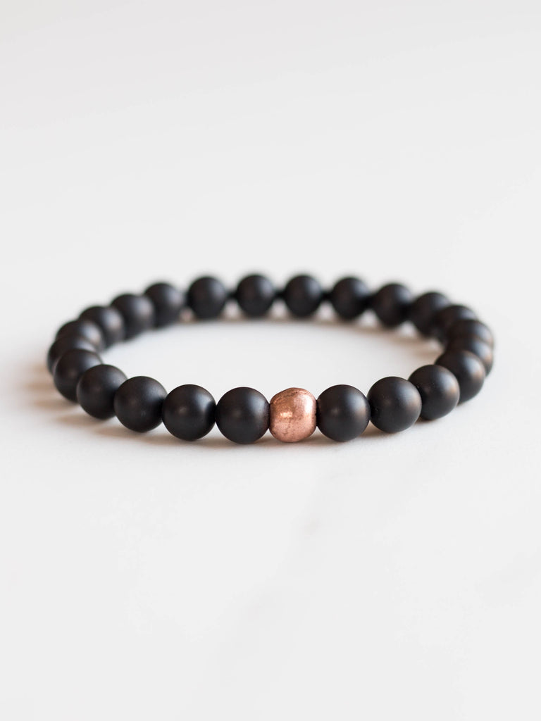 Onyx + Copper Bracelet (8mm)