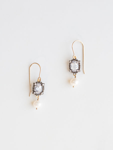Vermeil Quartz + Pearl Drop Earrings
