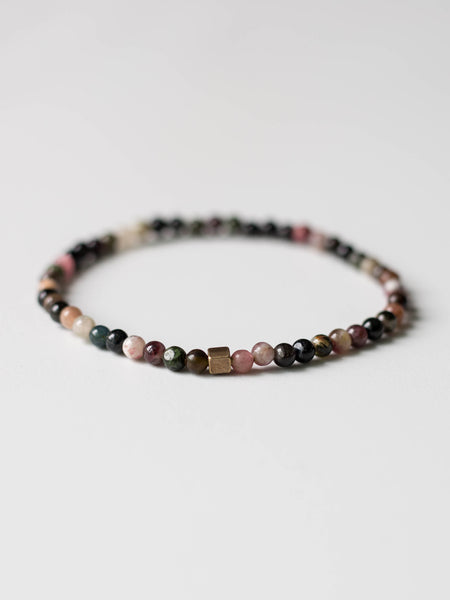 Micro Mini Watermelon Tourmaline Beaded Bracelet