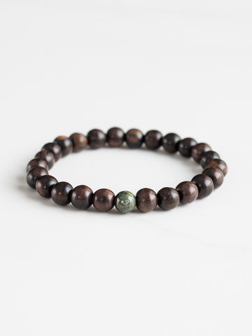 Wood + Malachite Bracelet
