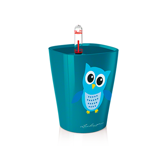 MINI DELTINI LITTLE OWL Planter - PEACOCK BLUE