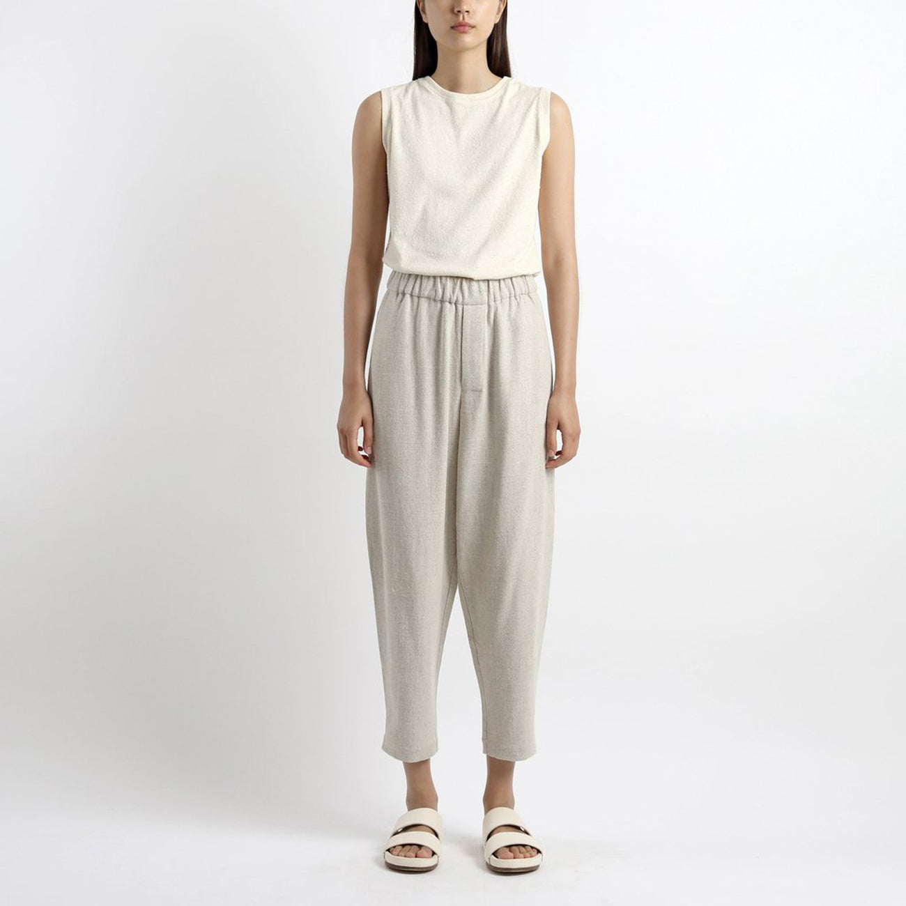 elastic pull- up trouser in oatmeal