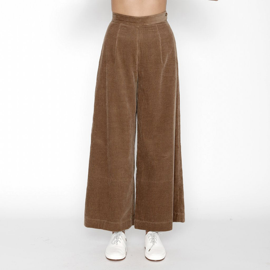 tobacco corduroy wide-legged trouser