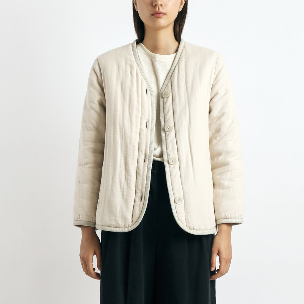 quilted short jacket in butter