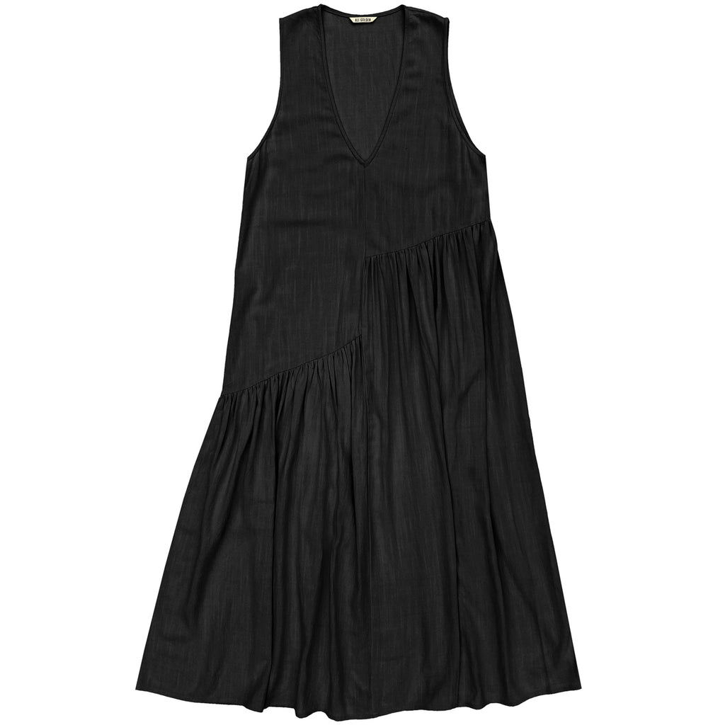 v-neck dress w/ gathers in black